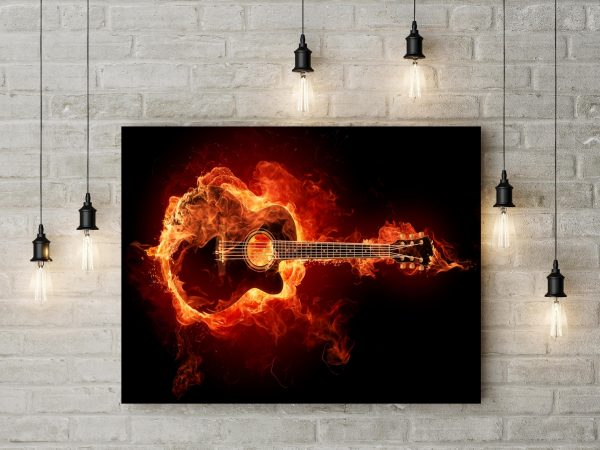 Acoustic Guitar In Flame 1