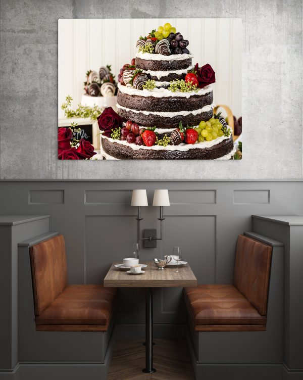 Chocolate Cake With Strawberry Grapes And Roses 1