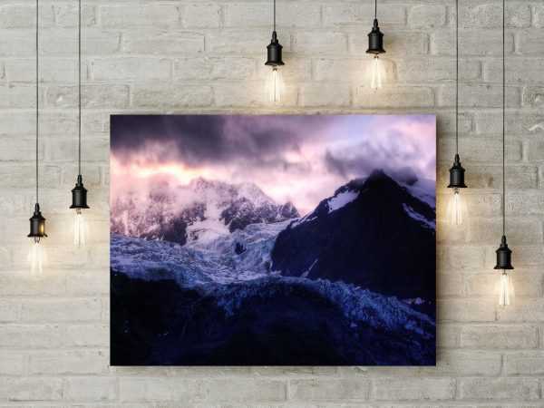 Purple Clouds Above Snowy Mountains 1