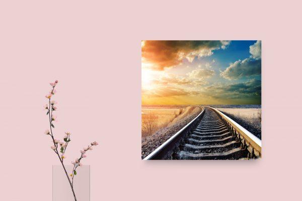 Sunset In Winter Railway 1