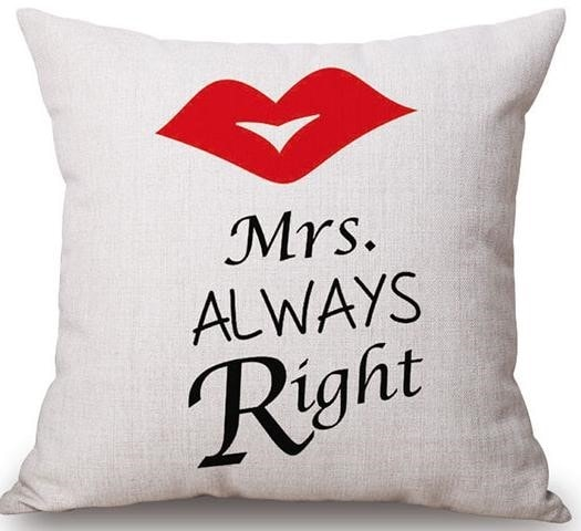 Linen Cushion Cover Mrs. Always Right 1