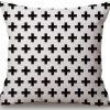 Linen Cushion Cover Crosses Black 2