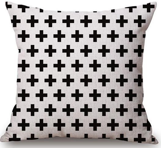 Linen Cushion Cover Crosses Black 1