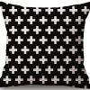 Linen Cushion Cover Crosses White 2