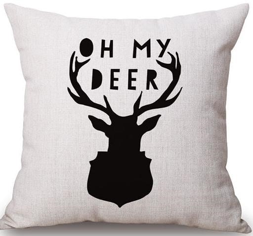 Linen Cushion Cover Oh My Deer 1