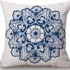 Linen Cushion Cover Blue Flower 2