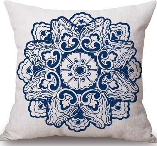 Linen Cushion Cover Blue Flower 1