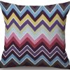 Linen Cushion Cover Colorful Zigzag 2
