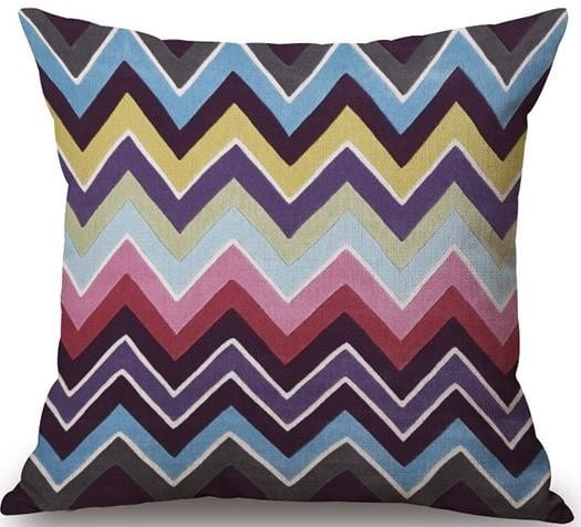 Linen Cushion Cover Colorful Zigzag 1