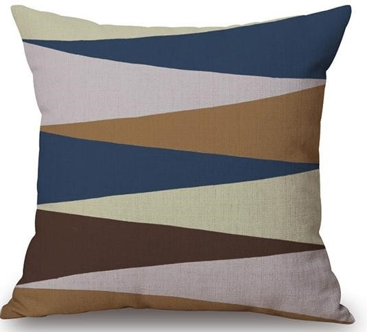 Linen Cushion Cover Zigzag Design 1