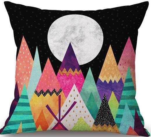 Linen Cushion Cover Colorful Mountains 1