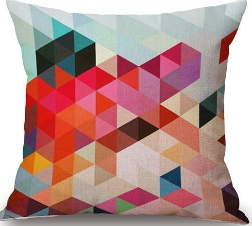 Linen Cushion Cover Colorful Triangles 1