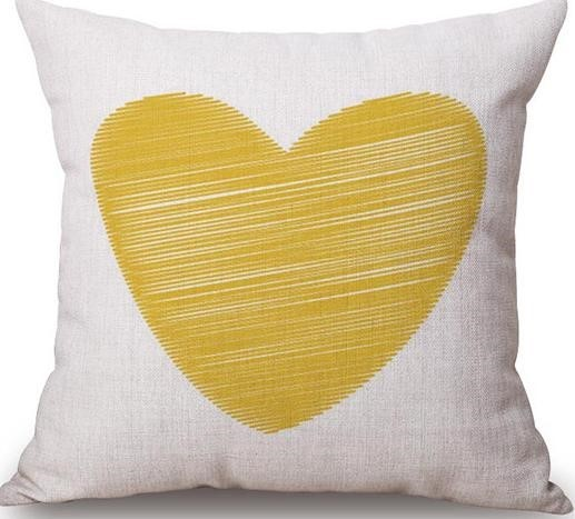 Linen Cushion Cover Yellow Heart 1