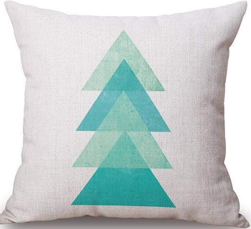 Linen Cushion Cover Turquoise Triangles 1