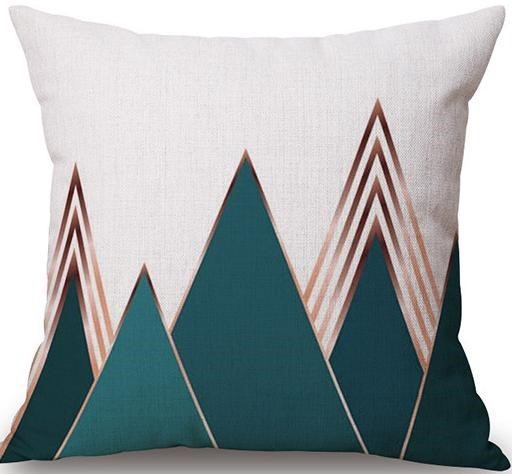 Linen Cushion Cover Turquoise Mountain 1