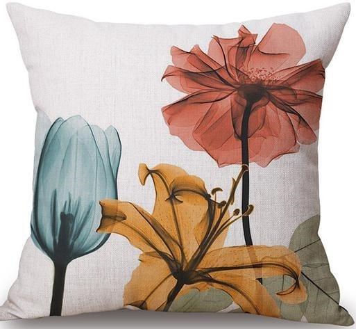 Linen Cushion Cover Beautiful Flowers 1