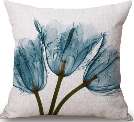 Linen Cushion Cover Blue Flowers 1