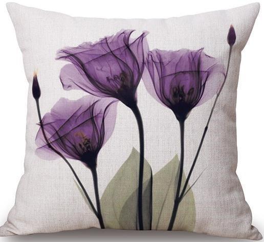 Linen Cushion Cover Purple Flowers 1