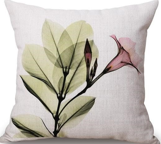 Linen Cushion Cover Pink Flower 1