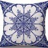 Linen Cushion Cover Blue Flower 2