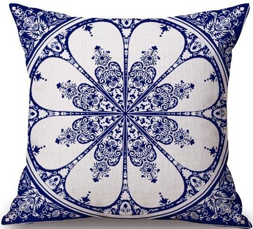 Linen Cushion Cover Blue Flower 1