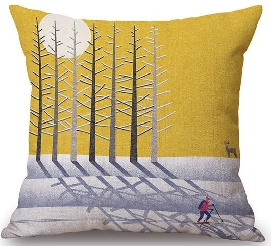 Linen Cushion Cover Forest In Winter 1