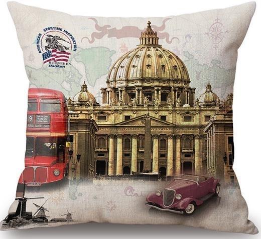 Linen Cushion Cover City Vatican 1