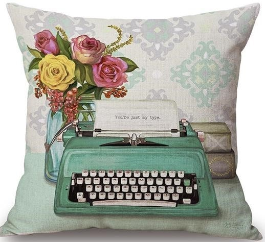 Linen Cushion Cover View Typewriter 1