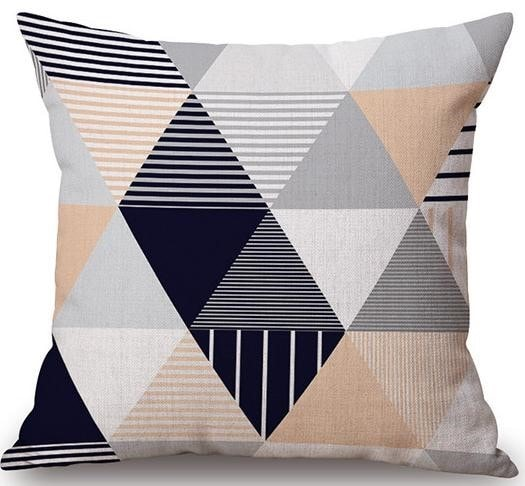 Linen Cushion Cover Striped Triangles 1
