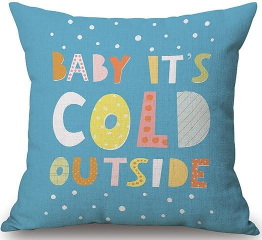 Linen Cushion Cover Baby It's Cold 1