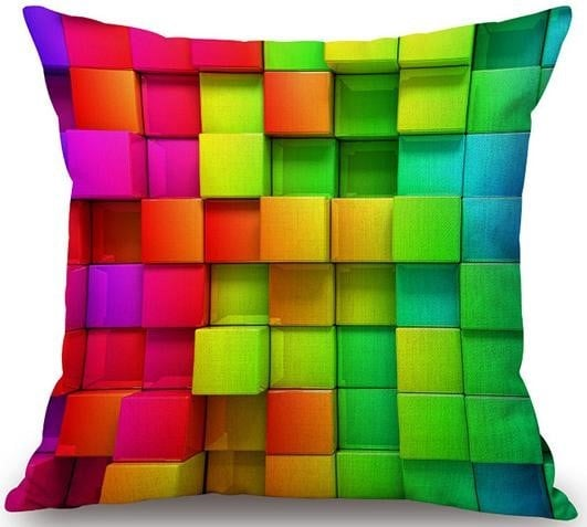 Linen Cushion Cover Colorful Cubes 1
