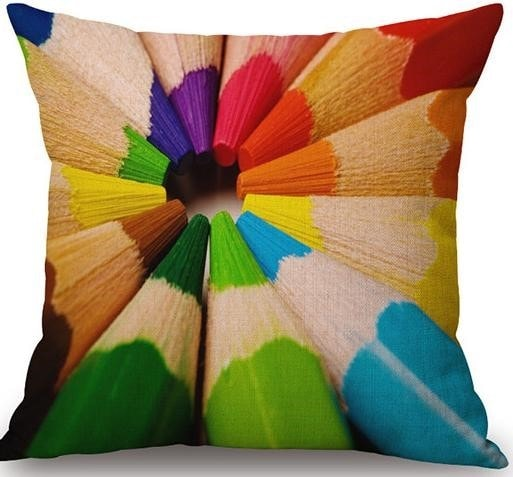 Linen Cushion Cover Colorful Pencils 1