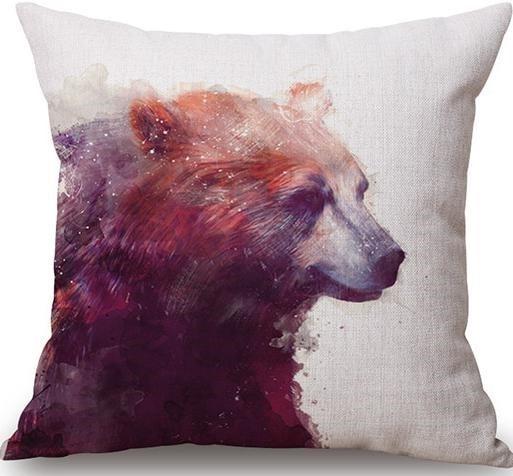 Linen Cushion Cover Bear 1