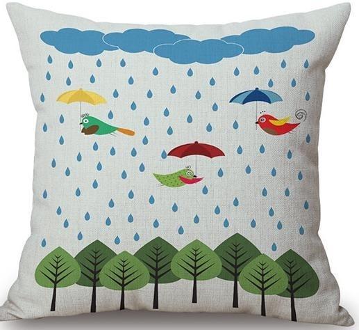 Linen Cushion Cover Raining 1