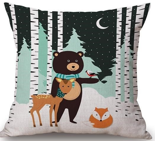 Linen Cushion Cover Forest Friends 1