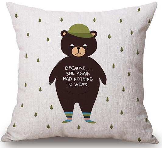 Linen Cushion Cover Sad Bear 1