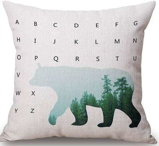 Linen Cushion Cover Alphabet Bear 1