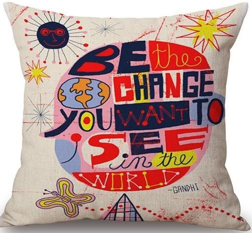 Linen Cushion Cover Gandhi 1