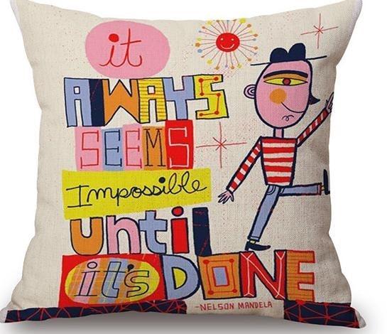 Linen Cushion Cover Nelson Mandela 1