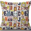 Linen Cushion Cover Colorful Letters 2