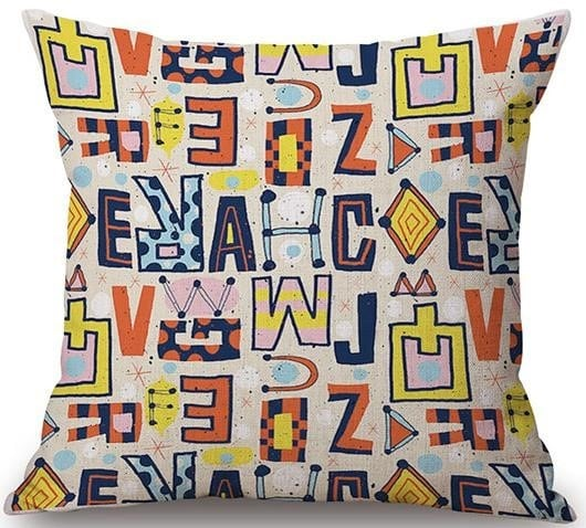 Linen Cushion Cover Colorful Letters 1
