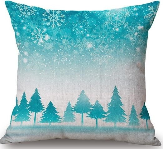 Linen Cushion Cover Blue Forest 1