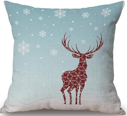Linen Cushion Cover Winter Deer 1